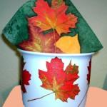 Herbstblätter Serviettentechnik auf Blumentopf