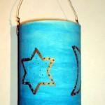 St. Martin Laterne aus Kaffeedose mit leuchtenden Sternen