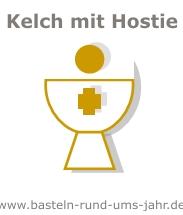 Kelch mit Hostie Symbol christlich Einladung Dankkarte