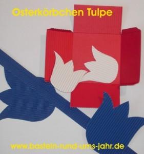 Osterkoerbchen mit Tulpe - die Einzelteile vor dem Zusammensetzen