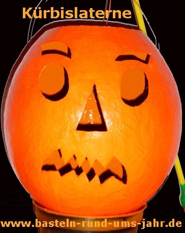 Kürbislaterne aus Pappmachee richtig gruselig für Halloween und Fasching.