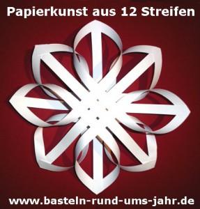 Papierkunst Stern aus 12 Streifen