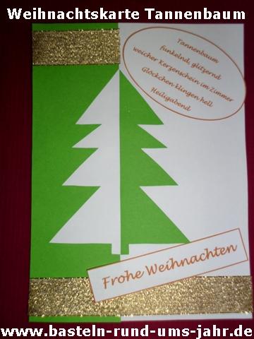 Weihnachtskarte Tannenbaum grün gold mit Elfchen