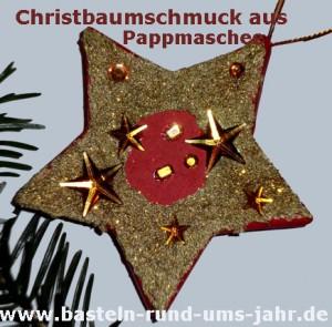 Stern aus Pappmachee bemalt mit Acrylfarbe in rot und gold + zusätzlicher Dekoration mit Sternen und Glitzersteinen