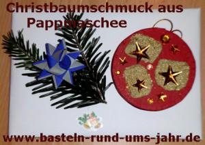 Christbaumschmuck Pappmachee gold rot mit Tannenzweig