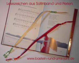 Lesezeichen Satinband mit Buch