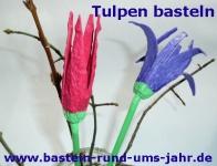 Tulpen aus Eierkarton in rot und lila selber basteln.