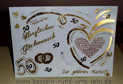 Gluckwunschkarte Zur Goldenen Hochzeit Basteln Rund Ums Jahr