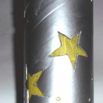 Laterne mit Sternen in silber und gelb