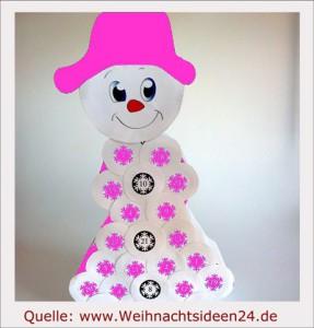 Adventskalender Schneemann rosa