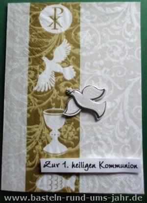 Kommunionkarte Serviettentechnik