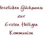 Schriftzug Glückwunsch zur 1. heiligen Kommunion