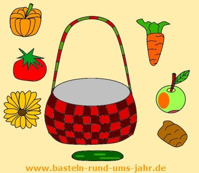 Erntedank Korb mit Obst und Gemüse als Ausmalbild