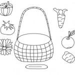 ErntedankKorb Ausmalbild mit Obst und Gemüse