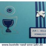 Kommunionkarte für Jungen in Blau mit Taube