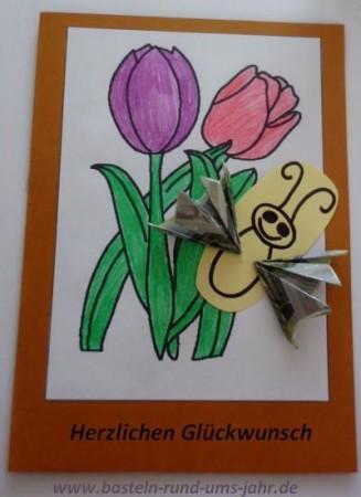 Karte Schmetterlingsfluegel aus Geldscheinen