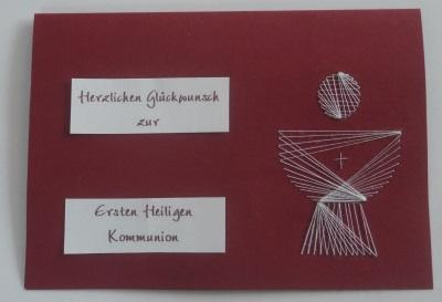 Glückwunschkarte Kommunion Kelch mit Hostie aus Fadengrafik
