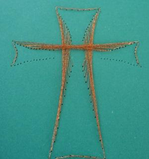 Kreuz aus Fadengrafik Glückwunschkarte zur Kommunion