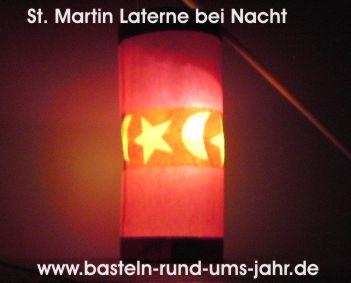 St. Martin Laterne aus Käseschachtel mit Mond und Sternen