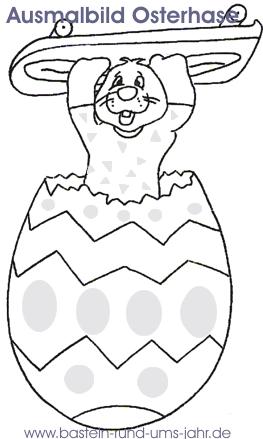Ausmalbild Osterhase im Osterei