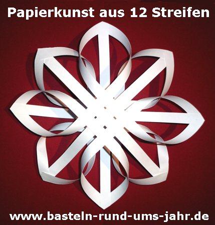 Papierkunst Stern aus einfachen Papierstreifen gefaltet
