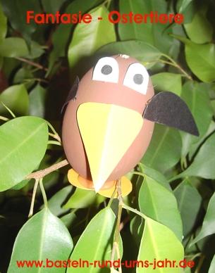 Fantasie Ostertiere aus ausgeblasenen Eiern selber gestalten.