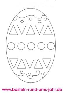 Ausmalbild Osterei mit grafischen Mustern