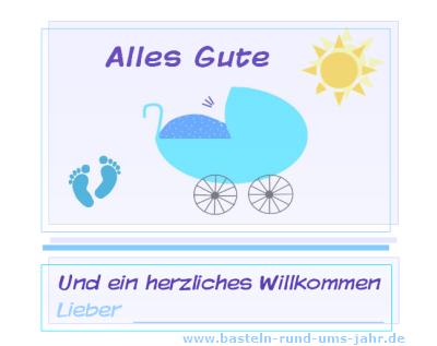 Karte mit Kinderwagen und Spruch zur Geburt
