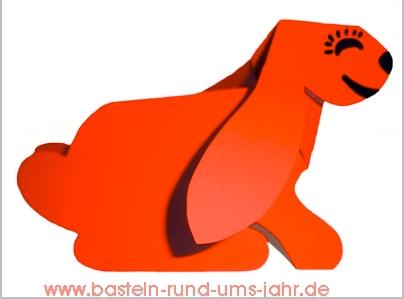 Falthund aus Tonpapier in rot