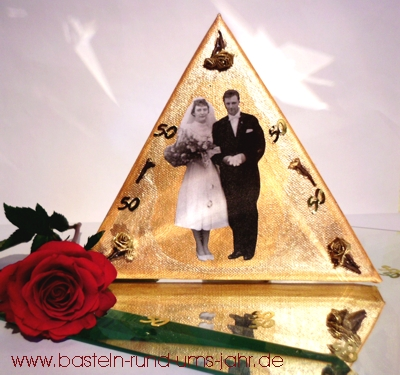 Bild zur goldenen Hochzeit mit Rose basteln