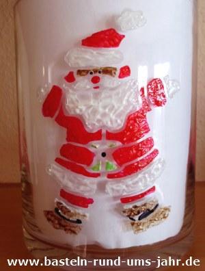 Weihnachtsmann in Window Style Art aus rot, weiß und gold
