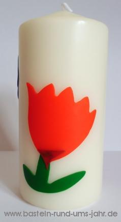Osterkerze mit Tulpe