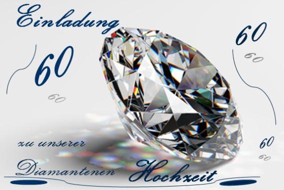 Einladungskarte zur Diamantenen Hochzeit