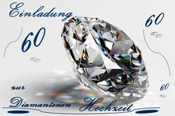 Einladung Diamantene Hochzeit mit Rückseite
