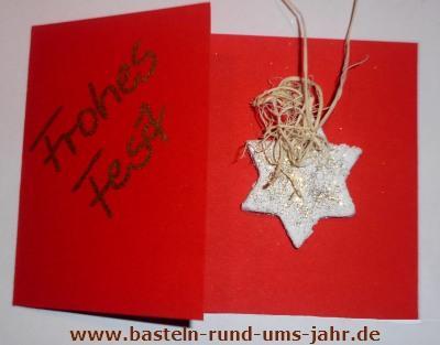 Weihnachtskarte mit Salzteig Anhängern