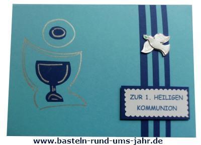 Kommunionkarte für Jungen in Blau mit Kelch und Taube