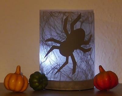 Windlicht Halloween Spinne