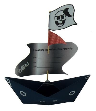 Piratenschiff Einladung zum Kindergeburtstag, inkl. Vorlagen zum Ausdrucken – Piratenparty